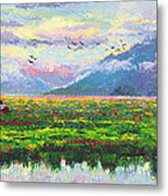 Nomad - Alaska Landscape With Joe Redington's Boat In Knik Alaska Metal Print by Talya Johnson