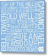 North Carolina College Colors Subway Art Metal Print by Replay Photos