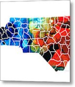 North Carolina - Colorful Wall Map By Sharon Cummings Metal Print by Sharon Cummings