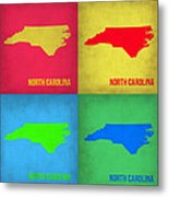 North Carolina Pop Art Map 1 Metal Print by Naxart Studio