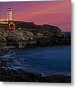 Nubble Lighthouse At Sunset Metal Print by Susan Candelario