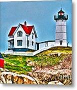Nubble Lighthouse Cape Neddick Maine 2 Metal Print by Glenn Gordon