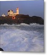 Nubble Lighthouse Holiday Lights And High Surf Metal Print by John Burk