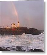 Nubble Lighthouse Rainbow And Surf At Sunset Metal Print by John Burk