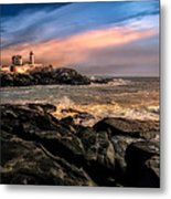 Nubble Lighthouse Winter Solstice Sunset Metal Print by Bob Orsillo