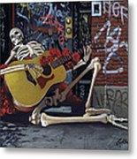 Nyc Skeleton Player Metal Print by Gary Kroman