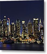 Nyc Skyline Full Moon Panorama Metal Print by Susan Candelario