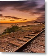 Oahu Rail Road Track Sunset Metal Print by Tin Lung Chao