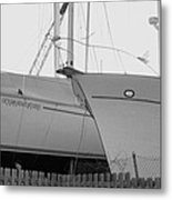 Ocean Adventure Until Then The Two Are In Dry Dock Monochrome  Metal Print by Rosemarie E Seppala