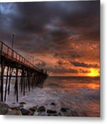 Oceanside Pier Perfect Sunset Metal Print by Peter Tellone