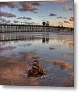 Oceanside Pier Seaweed Metal Print by Peter Tellone