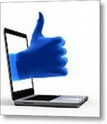 Okay Gesture Blue Hand From Screen Metal Print by Michal Bednarek