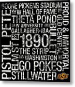 Oklahoma State College Colors Subway Art Metal Print by Replay Photos