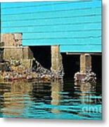 Old Aqua Boat Shed With Aqua Reflections Metal Print by Kaye Menner