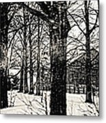 Old Barn Through The Trees Vintage Landscape Art Metal Print by Miss Dawn