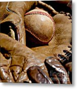Old Baseball Ball And Gloves Metal Print by Art Block Collections
