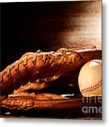 Old Baseball Glove Metal Print by Olivier Le Queinec