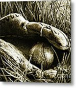 Old Baseball Glove With Ball In The Grass Metal Print by Sandra Cunningham