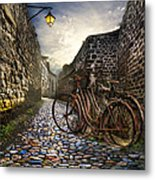 Old Bicycles On A Sunday Morning Metal Print by Debra and Dave Vanderlaan