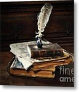 Old Books And A Quill Metal Print by Mary Machare