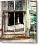 Old Broken Window And Shutter Of An Abandoned House Metal Print by Gary Heller