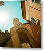 Old Clock On The Tower And Sun Metal Print by Raimond Klavins