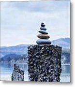 Old Concrete Jetty Posts Governors Bay Banks Peninsula New Zealand Metal Print by Colin and Linda McKie