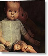 Old Dolls Sitting On Wooden Table Metal Print by Sandra Cunningham