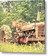 Old Farmall Tractor At Sunrise Metal Print by Edward Fielding