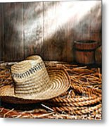 Old Farmer Hat And Rope Metal Print by Olivier Le Queinec