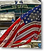 Old Glory And The Bay Metal Print by Tom Gari Gallery-Three-Photography