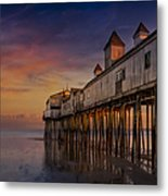 Old Orchard Beach Pier Sunset Metal Print by Susan Candelario