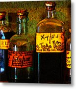 Old Pharmacy Bottles - 20130118 V1b Metal Print by Wingsdomain Art and Photography