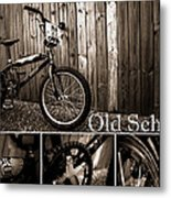Old School Bmx - Pk Collage Bw Metal Print by Jamian Stayt