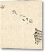 Old Sheet Music Map Of Hawaii Metal Print by Michael Tompsett