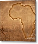 Old Style Africa Map Metal Print by Johan Swanepoel