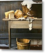 Old Wash Tub With Soap And Scrub Brushes Metal Print by Sandra Cunningham
