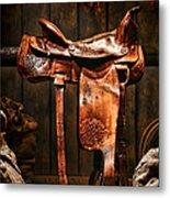 Old Western Saddle Metal Print by Olivier Le Queinec