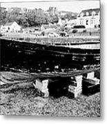 Old Wooden Fishing Boat In Portpatrick Harbour Scotland Uk Metal Print by Joe Fox