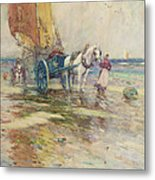 On The Beach  Metal Print by Oswald Garside