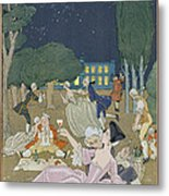 On The Lawn Metal Print by Georges Barbier