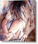 Once Upon An Ipad Metal Print by Leslie Franklin