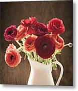 Orange And Red Ranunculus Flowers Metal Print by Jan Bickerton
