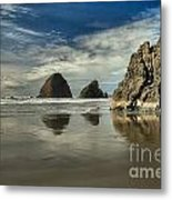 Oregon Sea Stack Reflections Metal Print by Adam Jewell