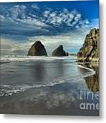 Oregon Sea Stack Surf Metal Print by Adam Jewell