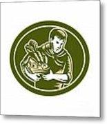 Organic Farmer Crop Harvest Woodcut Metal Print by Aloysius Patrimonio