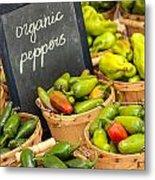 Organic Peppers At Farmers Market Metal Print by Teri Virbickis