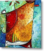 Original Abstract Pop Art Style Colorful Landscape Painting Home To Tuscany By Megan Duncanson Metal Print by Megan Duncanson