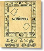 Original Patent For Monopoly Board Game Metal Print by Edward Fielding