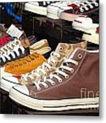 Outdoor Vendor Sells Canvas Shoes Metal Print by Yali Shi